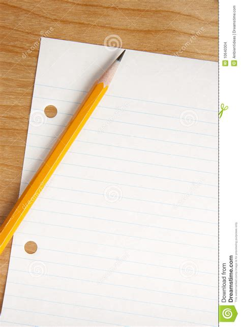 Pencil Desk by Pencil On Desk With Lines Paper Stock Photo Image 10640304