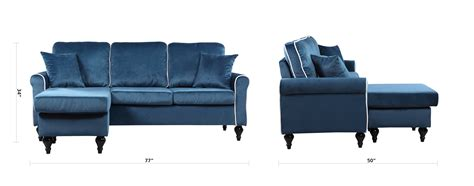 Small Sectional Sofa With Chaise Lounge Traditional Small Space Blue Velvet Sectional Sofa With Reversible Chaise Ebay