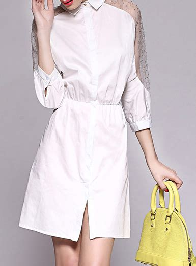 Lace Trim Collar Shirt s shirt dress white lace trim pan collar