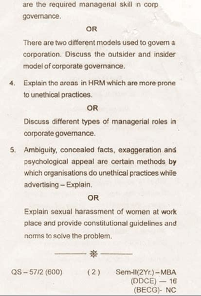 Ethical Dilemma Question Mba by Utkal Mba Business Ethics And Corporate