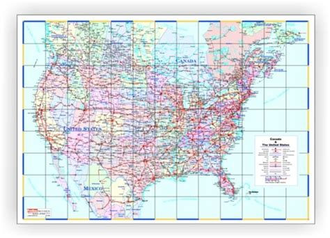 large us map for wall large laminated canada united states wall map 48 quot x 72