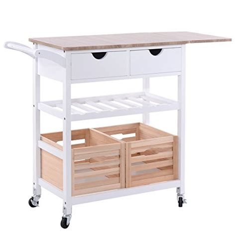 costzon kitchen trolley island cart dining storage with