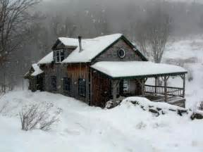 log cabin in the snow things i