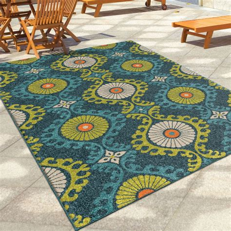 Oversized Outdoor Rugs Orian Rugs Indoor Outdoor Scroll Medallion Kokand Blue Area Large Rug 2358 8x11 Orian Rugs