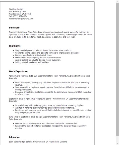 Resume Sales Associate High School Professional Department Store Sales Associate Templates To Showcase Your Talent Myperfectresume