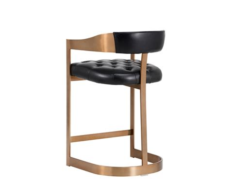 Antique Black Counter Stools by Beaumont Counter Stool Antique Brass Black Leather
