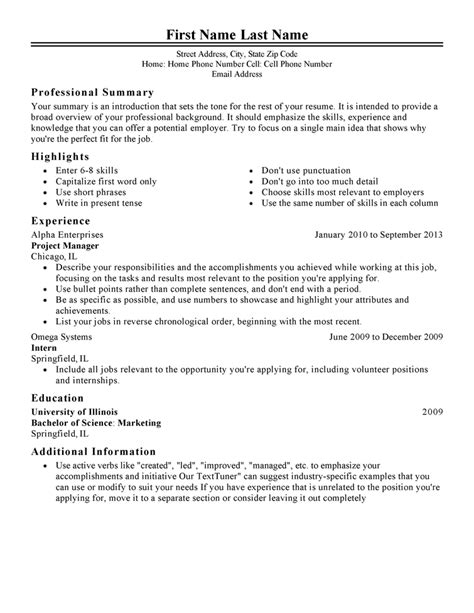 free sle of professional resume template free professional resume templates livecareer