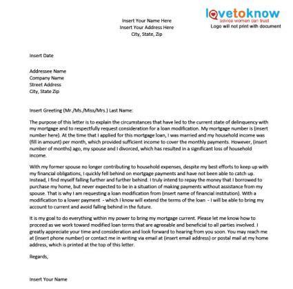 loan modification hardship letter