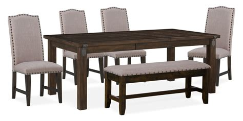 Upholstered Dining Table Bench Hton Dining Table 4 Upholstered Side Chairs And Storage Bench Cocoa American Signature