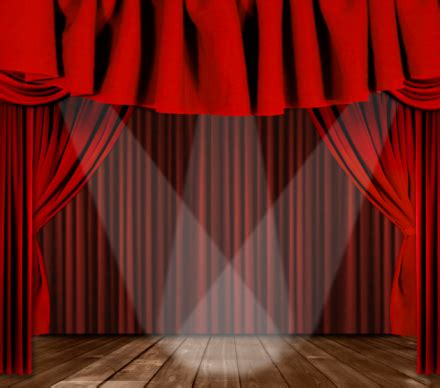 curtains broadway stage drapes with 3 spotlights focused center stage