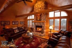 log home golden eagle homes great room fireplace