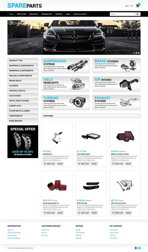 opencart responsive templates auto parts opencart themes free premium templates