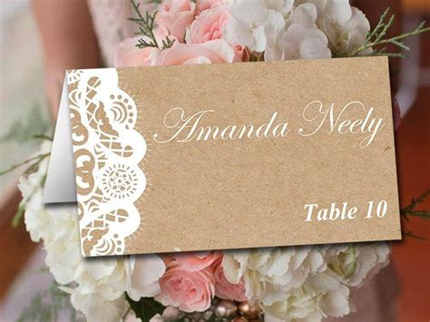 rustic wedding place card template fold wedding place card template kraft card