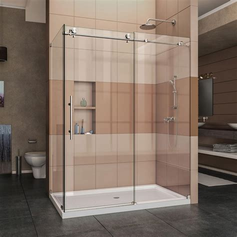 corner shower doors frameless dreamline enigma x 60 375 in x 76 in frameless corner