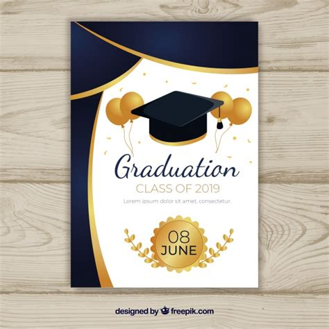 Graduation Invitation Template With Flat Design Vector Free Download Graduation Announcement Design Templates