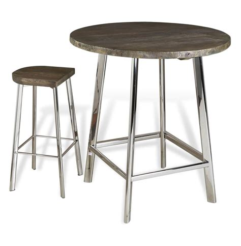 Metal Bar Table Xenia Rustic Wood And Stainless Steel Bar Table Kathy Kuo Home