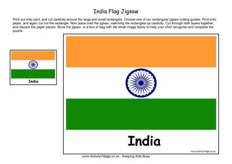 India Flag Jigsaw Printable Indian Flag