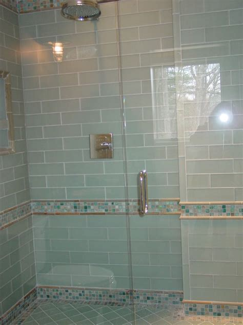glass tile shower blue glass tile shower