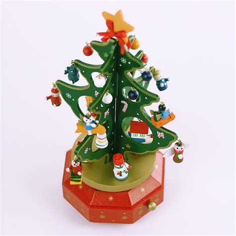christmas tabletop musical rotating christmas tree decoration wooden tree rotating box gift decorations alex nld