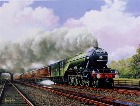 painting trains beautiful print picture painting flying scotsman 4472