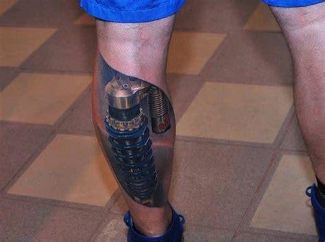 realistic mechanical leg tattoo on perna mecanica tatuagem com tatuagens tattoo