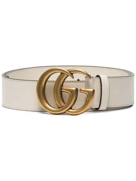 gucci bianco white gg logo leather size 100 wide 4cm belt tradesy