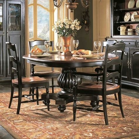 hooker dining room table indigo creek round pedestal dining table by hooker