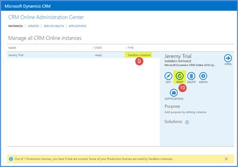 reset crm online instance how to reset production instances in dynamics crm online