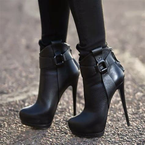 heeled boots black patchwork buckle high heel ankle boots