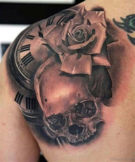tattoo rose and clock 57 pleasant black designs