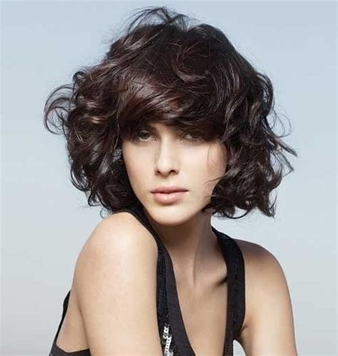 side bangs roll charming short curly hair with bangs 2018 hairstyle for