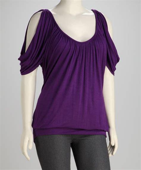 Top Purple purple plus size cutout top