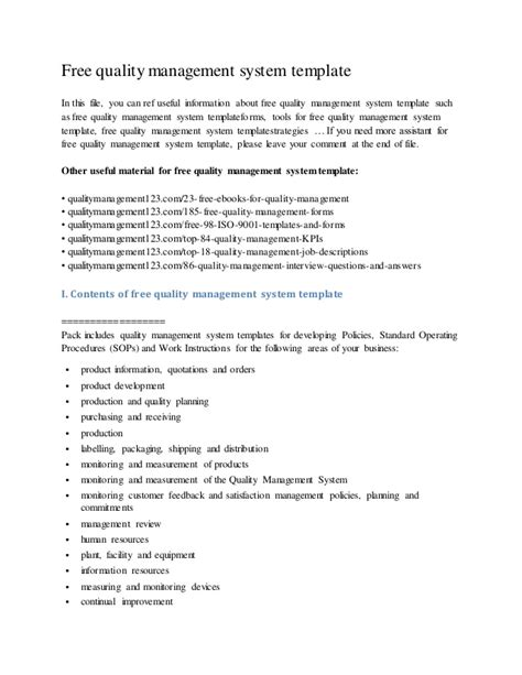 Management System Template free templates forms quality management system template