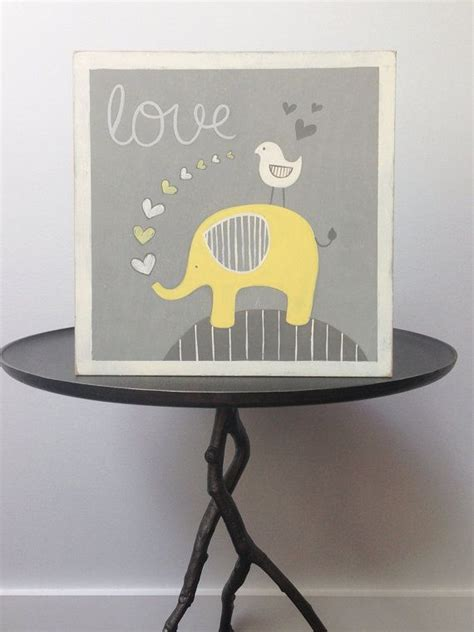 Yellow And Gray Nursery Decor Yellow Elephant Nursery Wall Yellow And Gray Nursery Baby Elephant Baby Boy Wall