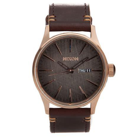 nixon sentry leather gold gunmetal brown