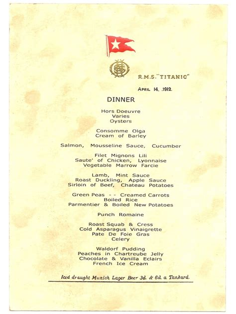 titanic menu titanic s last dinner menu dated april 14 1912 titanic