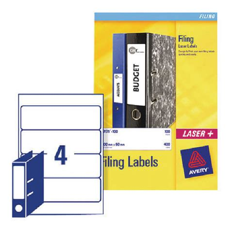 Avery Lever Arch Filing Labels 200 X 60mm White Pack 100 L7171 25 Avery L7171 Template