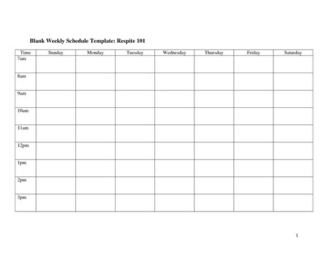 8 Best Images Of Free Printable Blank Weekly Schedule Free Printable Blank Weekly Cleaning Blank Work Schedule Template Free