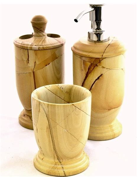 marble bathroom accessories sets teak marble 3 bathroom accessory set of