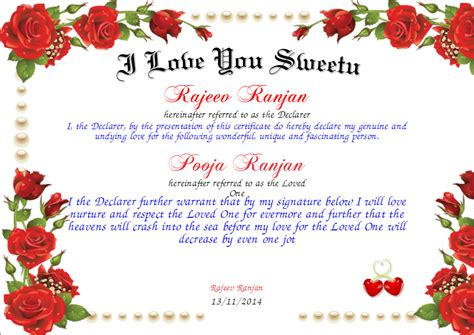 I Love You Sweetu Certificate   Created with