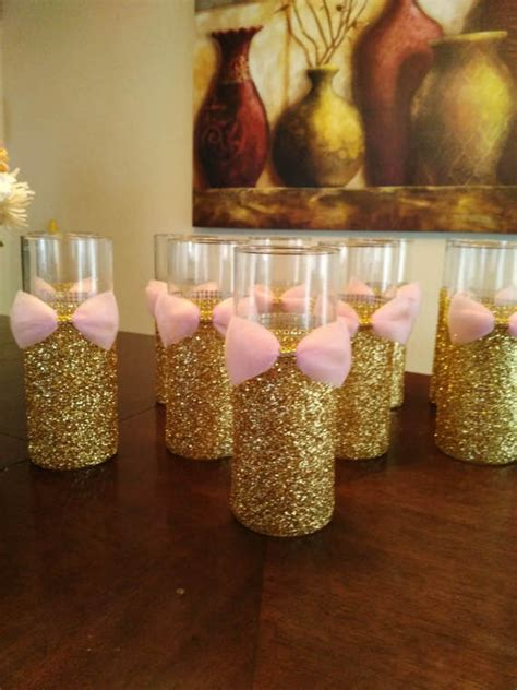 10 pink and gold baby shower wedding centerpiece bridal