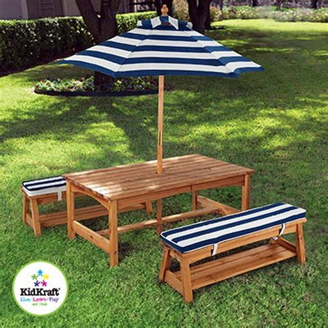 Picnic Table Cushions new picnic table furniture set 2 benches striped umbrella cushions ebay