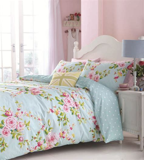 shabby chic bedding floral bed linen in single kingsize flowery