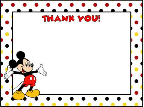 Mickey Mouse Thank You Card Template by Mickey Mouse Thank You Cards