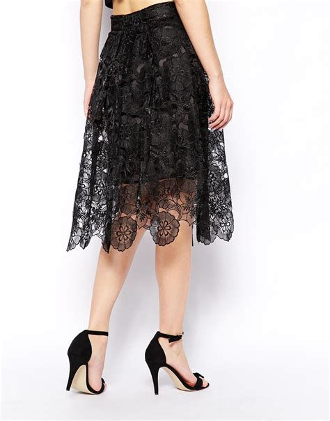 Black Bow Lace Skirt Set lyst asos premium midi skirt in lace in black
