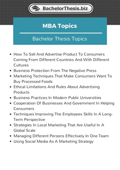 Mba International Business Dissertation Topics by A Definitive List Of 100 Bachelor Thesis Topics
