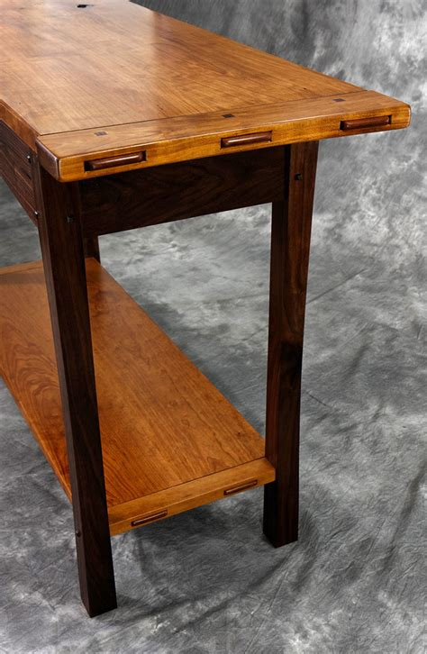 cherry walnut hall table lohr woodworking studio