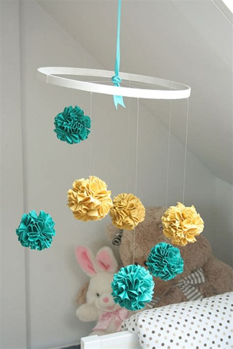 Handmade Mobiles - bright diy fabric pom pom baby crib mobile to make