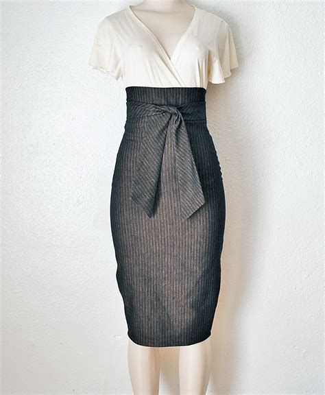 high waist pencil skirt womens clothing in black by