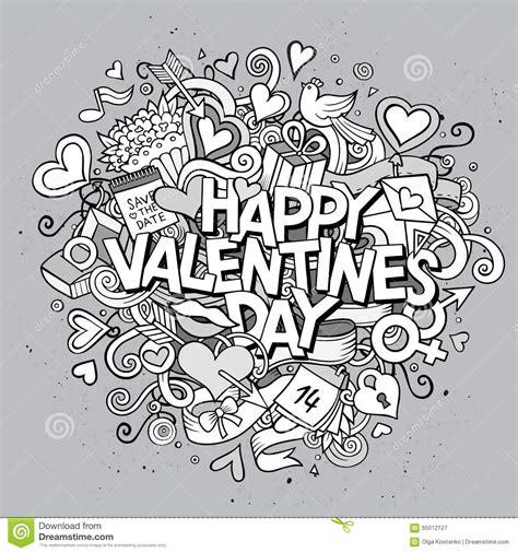 doodle valentines day vector doodle happy valentines stock
